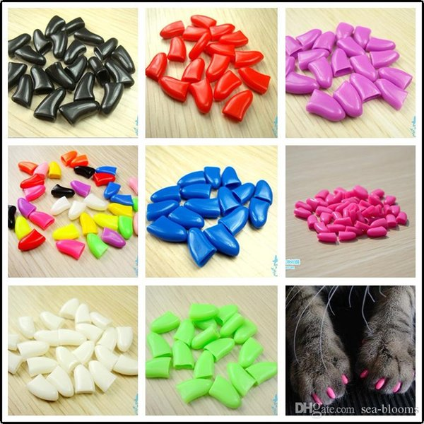 Cats Dogs Nail Claw 20pcs/lot Nail Cap With Adhesive Glue Soft Rubber Nail Cover/Paws Caps Pet Supplies 14 Colors 6 Size for choose C169S F