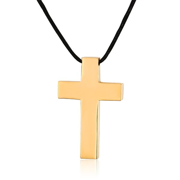 Gold Color Fashion Men's Cross Pendant Necklace Stainless Steel Link Chain Necklace Jewelry Gift for Men Boys J020