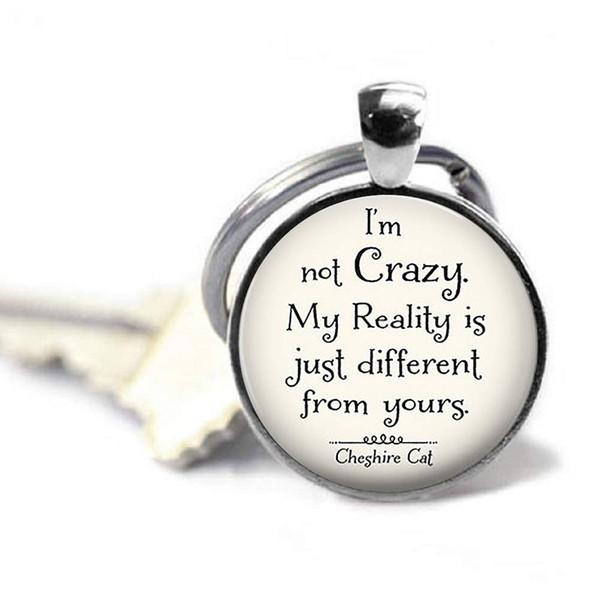 I am Not Crazy Pendant Book Metal Keychain Jewelry, Customized Keychain Quote Jewelry Pendant Glass Dome Key Chain