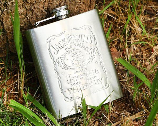 Şişe Viski Paslanmaz Çelik Şarap Şişesi 7 oz Seyahat Alkol Viski Cebi Cep Şişesi Gümüş Kutuları ile Viski Alkol Şişeleri