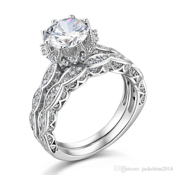 Victoria Wieck 8mm Big Stone Weißer Topas Luxus Schmuck 925 Sterling Silber Simuliert Diamant Edelsteine Hochzeit Frauen Band Ring Geschenk Sz5-11
