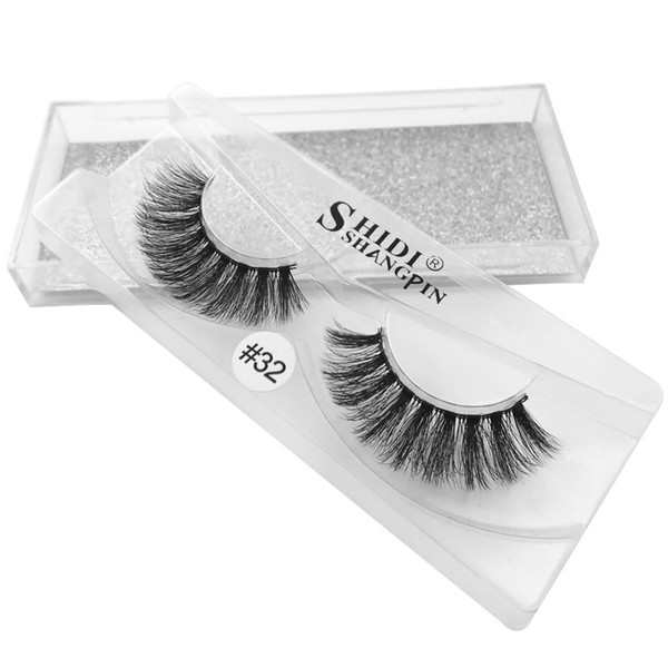 #30-#36 3d Mink Hair False Eyelashes 1 Pairs Handmade Soft Terrier Eyelashes[Silver Card] 11.2×5.2×1.5cm 33g Length 1.6cm Black Extra Long