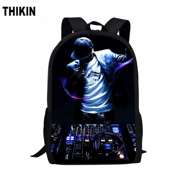 THIKIN DJ Night Theme Musician Print School Bags for Boys Girls Casual 3D Men's Backpack Fashion Rucksack Kids Book Bag Custom