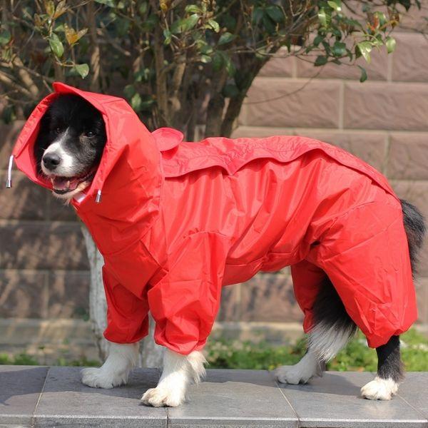 Pet Big Dog Raincoat Waterproof Clothes For Small Large Dogs Jumpsuit Rain Coat Hooded Overalls Cloak Labrador Golden Retriever Q190603