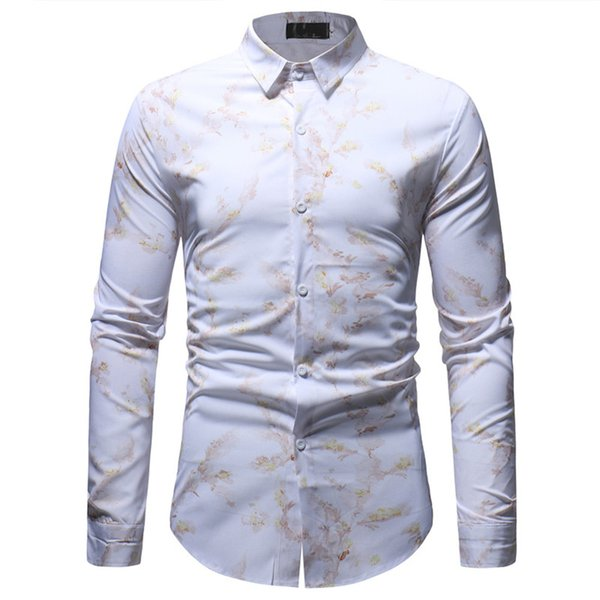Casual Shirt Male Long Sleeve Clothes Turn-down Collar Blouse Shirt Dinner Wear Social Chinese Style Floral Tops Hot Sale