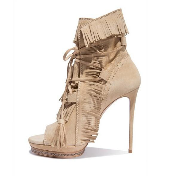 Hot Selling Beige Suede Tassel Ankle Boots Peep Toe Fringe Lace-up Runway Bootie High Heels Cut-out Thin Heels Platform Shoes
