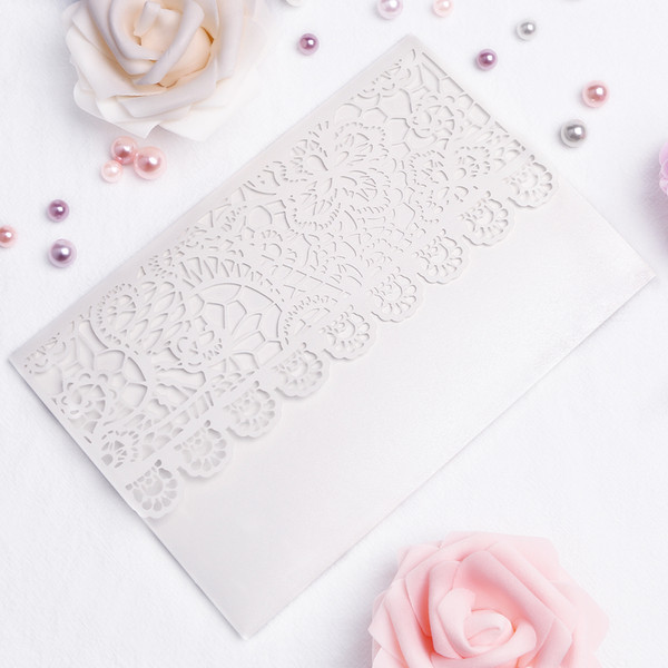 New Wedding Invitation Cards Set White lace hollow Invitation Pocket Envelope Inner Cards Folded Solid Elegant Wedding Party Supplies PH28