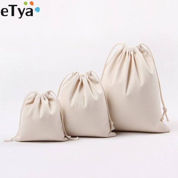 eTya Women Canvas Drawstring Shopping Bags Foldable Eco Tote Cotton Grocery Bag Travel Cosmetic Cloth Shoes Storage Gift Pouch