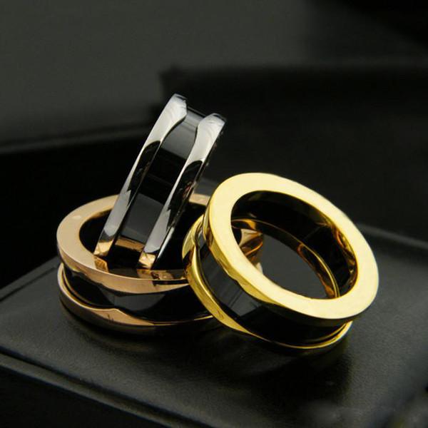 Schwarz / Weiß / Rosa Schmale Keramikringe, Gelbgold / Rose Gold / Platin beschichtet Edelstahlringe für Frauen / Männer Modeschmuck