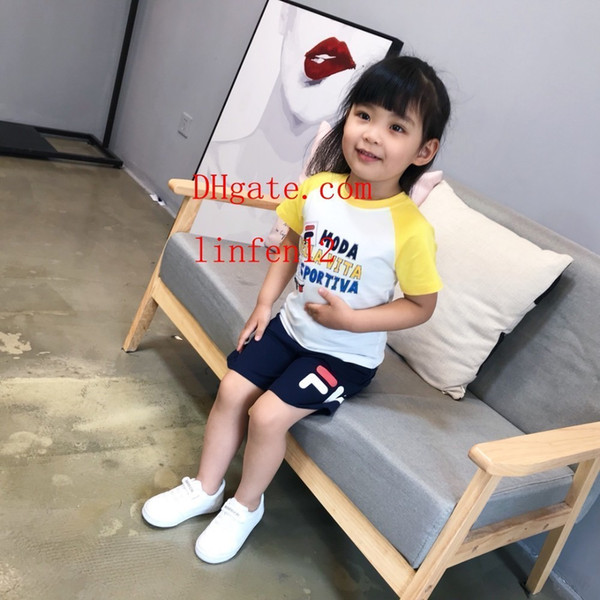 Kids Clothing Sets Two-piece Summer for Girls letter pattern Short Sleeve Cotton Pants Shorts Sportswear kids jogging tracksuits di-sn9
