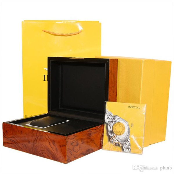 Scatola di orologi di alta qualità Certificato di sacchetti di carta Scatole originali per Breitling Wooden Men mens Watches Gift Box