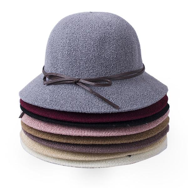 Femmes solides Couleur Seau Bonnet Laine avec seau en cuir Cloche de ceinture pêcheur Bucket Chapeaux Pliable Chapeau de soleil style britannique Tide Voyage