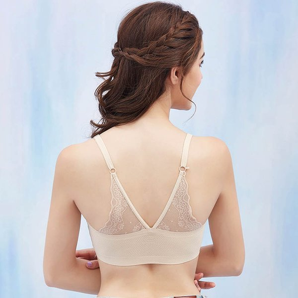 Ice Silk Women Wrapped Chest Lace Bra Black Tube Top Female Brassiere Sexy Underwear Seamless Bandeau Breathable Padded Bra New