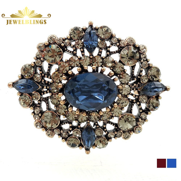 Broche en or victorien Vintage en filigrane et bleu ovale broches ton feuilleté géométrique doré ouvre cristal pavé Art Deco épingles bijoux anciens