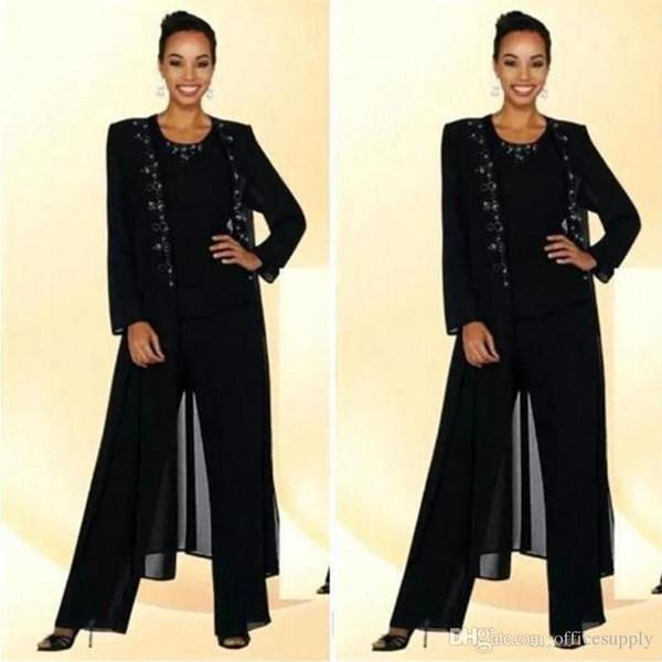 Modest Black Three Pieces Mother Of the Bride Dresses with Jacket Plus Size Pant Suit Bead Applique Mothers Chiffon Pant Suit Wedding Guest