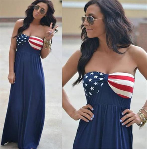 Flag USA Stars Print Designer Damen Maxi Kleider Sommer Trägerlos A Line Damen Sexy Kleider Mit Schößchen
