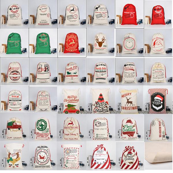 top popular 2019 Christmas Large Canvas Monogrammable Santa Claus Drawstring Bag With Reindeers Monogramable Christmas Gifts Sack Bags 2019