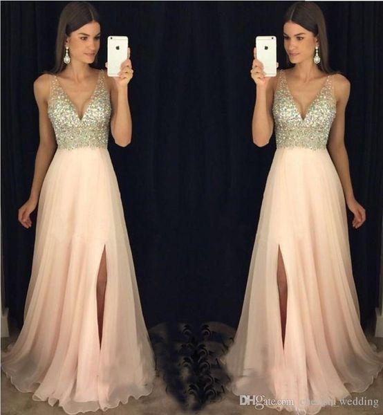 Royal Blue paillettes 2019 robes de bal diamant sexy longues robes de demoiselle d'honneur formelles une ligne Split V cou dos nu robes de soirée en mousseline de soie