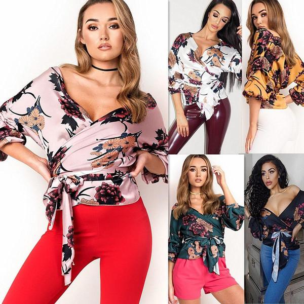 Мода Повседневная Женщины Дамы Блузки Цветочный Принт Смокинг Обернуть Атласные Топы Блузка Дамы Бинты Рубашки Верхняя Одежда Черный J190509