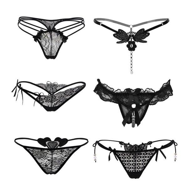 Kadınlar Porno İç Seksi Külot 6PCS Dantel Külot Sexy Lingerie İç İnci kolye Siyah Külot D91206