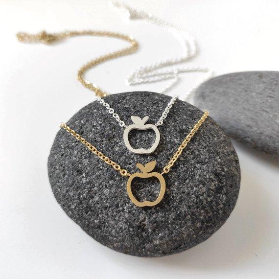 5PCS Hollow Outline Funny Simple Geometric Fruit Apple Shape Pendant Chain Necklaces for School Mentor Teacher Women Graduation Gifts