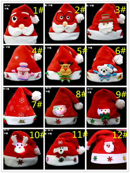 56 colors Christmas Ornaments Decoration Christmas Hats Santa Hats Children Women Men Boys Girls Cap For Christmas Party Props