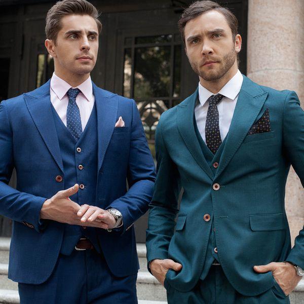 JRHYME `s dos homens Slim Fit Suit Blazer Jacket Tux Vest Calças 3-Piece Suit Set Ternos de casamento Único Breasted Azul Verde
