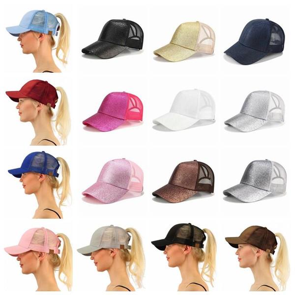 26 color CC Glitter Ponytail breathable mesh baseball cap men s ladies bag  summer truck Gorras shiny 38b4258e0eec