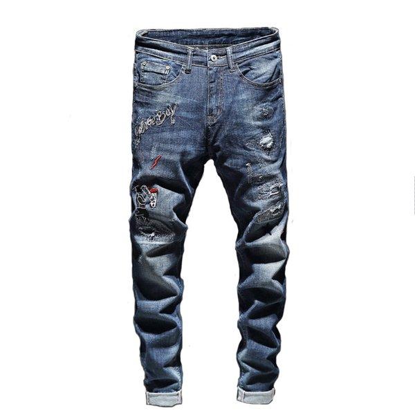 Denim Jean broderie Pantalons Trous Trous Distrressed Jeans Bouton Hommes Pantalons Pantalons Longs Pantalons Vêtements Hommes