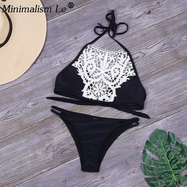 Minimalism Le Bikinis Set Sexy Lace Patchwork Swimsuit Women Floral Halter Top Bathing Suit Black Swimwear Bodysuit Biquini