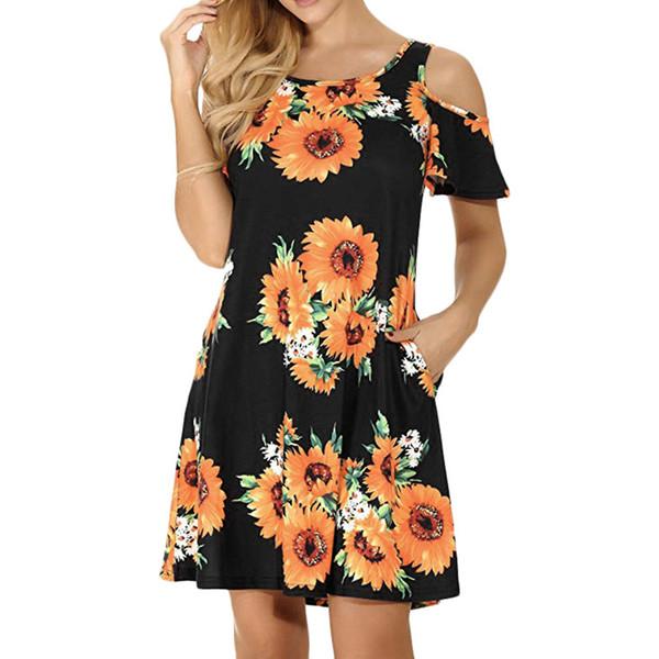 Ayçiçeği baskı plaj elbiseleri kadınlar için 2XL pamuk keten soğuk omuz Gevşek Mini Rahat artı boyutu vintage parti kadın tops