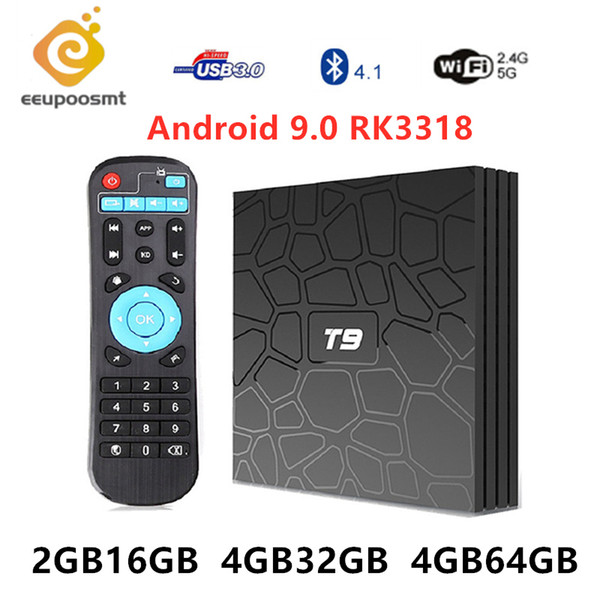 T9 Android 9.0 Smart TV Box RK3318 Quad Core 4GB RAM 64GB ROM Supports Bluetooth Dual Band Wifi 2.4G 5G T9 4K 1080P 3D TVbox Media Player