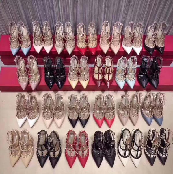 Kadınlar yüksek topuklu elbise ayakkabı parti moda perçinler kızlar seksi sivri burun ayakkabı toka platformu düğün ayakkabı pompalar 50