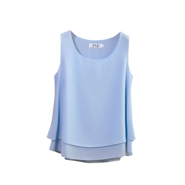 2019 New product Women Chiffon shirt Summer Casual sleeveless O-Neck Blouse 13 Solid color Loose Female Tops Plus Size 4XL