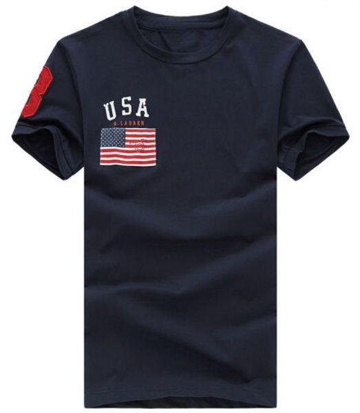 American Fashion Men Polo T-Shirts USA Flag Big Pony Embroidery Short-Sleeve T shirt Solid Tee Shirts nautica Sport Tees Top Men's Clothing