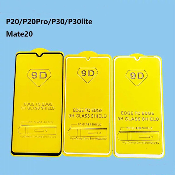 100pcs/lot 9D Full Cover Tempered Glass Screen Protector For Huawei P30 P30pro P20 mate 20 Premium Screen Glass Protective mate20 pro