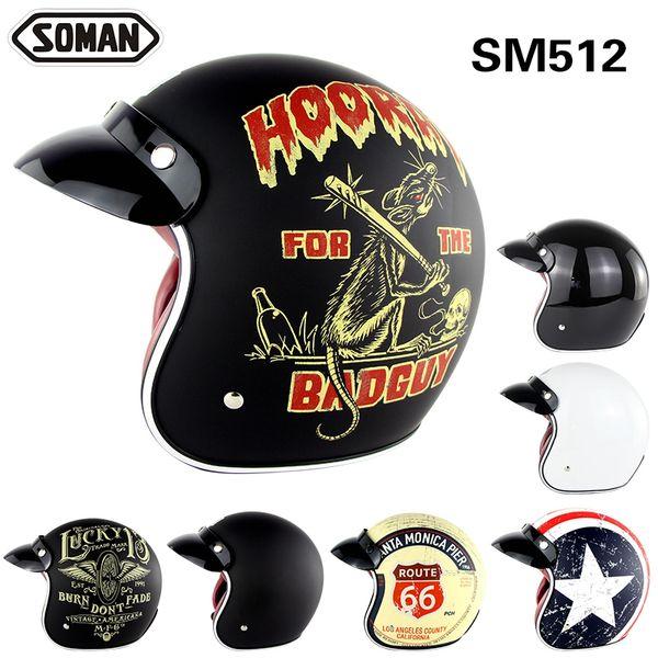 DOT Approved TORC Motorcycle Helmets Retro Scooter Vintage Open Face Halley Half Helmet Moto 3/4 Casco SM512