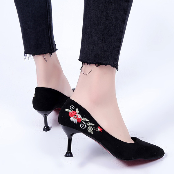 Current2019 Xi Ji Sharp Embroidered Women's Shallow Mouth Low Help Velvet Noodles Work Single Shoe High With Will Shoes