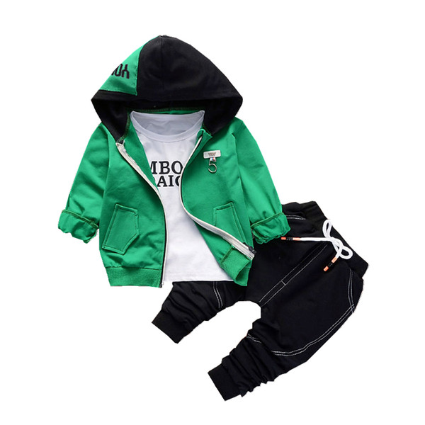 Spring Autumn Children Boys Girls Cotton Clothing Sets Baby Patchwork Hoodies T-shirt Pants 3pcs/sets Fashion Toddler Tracksuits Y190518