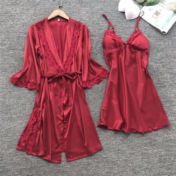 2018 frauen sexy spitze silk robe kleid set schlaf dress + bademantel zweiteilige 4 farbe robe brautjungfer hochzeit nachtwäsche
