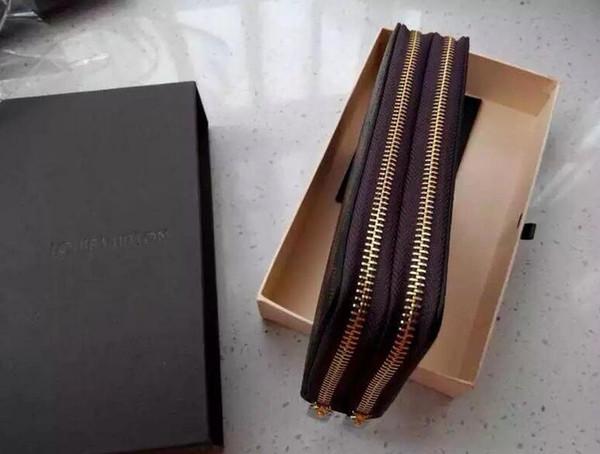 Sıcak! Toptan ünlü marka moda tek fermuar ucuz lüks tasarımcı kadın pu deri cüzdan bayan bayanlar uzun çanta AU16