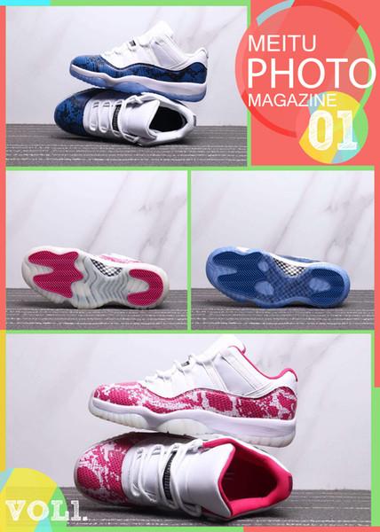 New 11 Low Navy Blue Pink Snakeskin Men Women Outdoor Sports Shoes Jumpman White/Black-Navy Fashion mens ladies designer shoes trainer