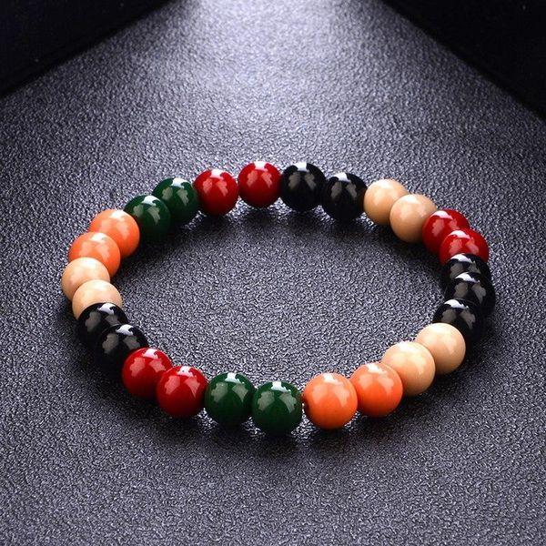Black Wood Beads Bracelet With Elastic Rope Wooden Bead Bracelet For Women Unisex Men Hip Hop Jewelry 8mm