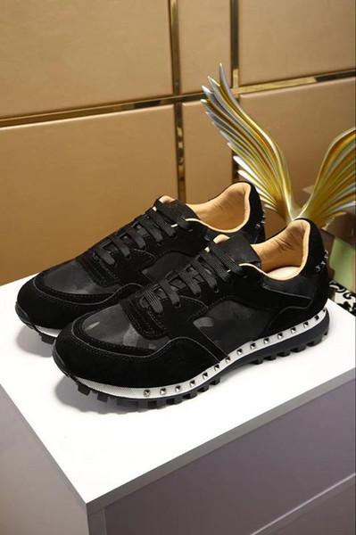Diseñador de moda zapatos negro blanco rosa Confort Chica Mujer Zapatillas de deporte Zapatos de cuero Hombre Zapato de lujo casual hy18032402
