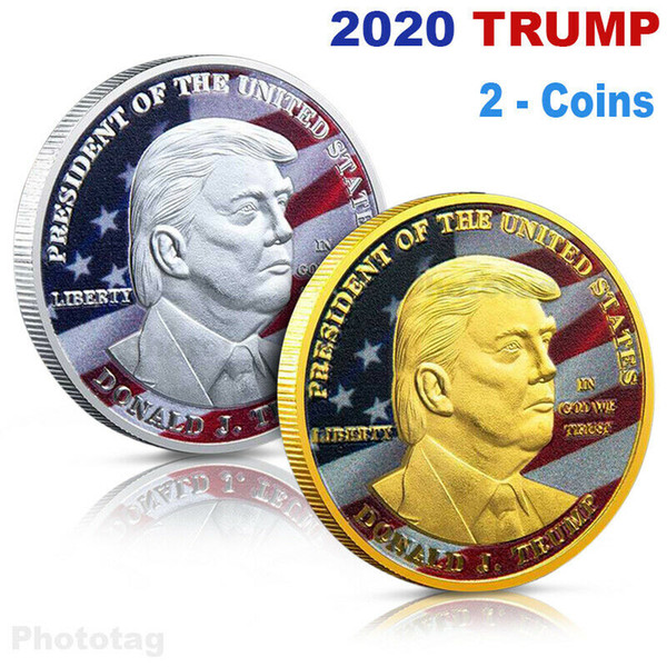 top popular Donald Trump Gold Coin Commemorative Coin Make America Great Again Coin 45th 2020 President Election Metal Badge Craft Supply VT0635 2020