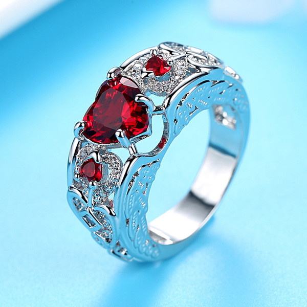 2019 NEW Heart Zircon RED Fire Opal Rings For Women Vintage Fashion Black Gold Filled Birthstone Ring
