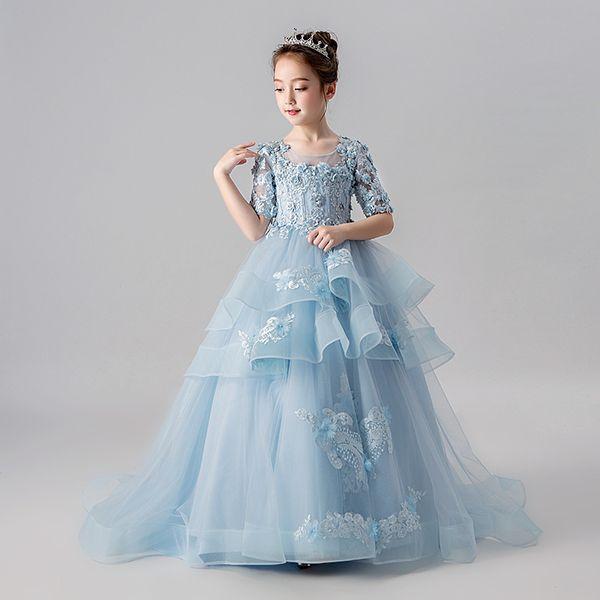 Vintage Blumenmädchenkleider für Hochzeiten erröten rosa nach Maß Prinzessin Tutu Sequined Appliqued Lace Bow Kids Erstkommunion