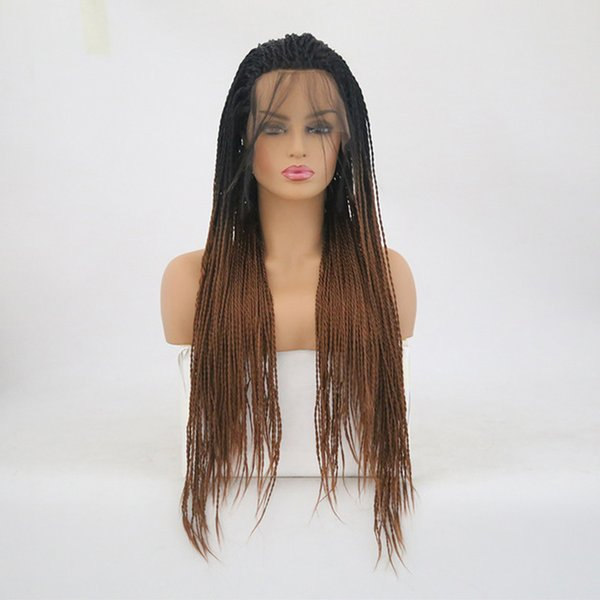 Braided Lace Front Wigs Ombre Brown Heat Resistant Fibe Hair For Black Women Glueless Twist Synthetic Lacefront Wig Ombre With Dark Roots