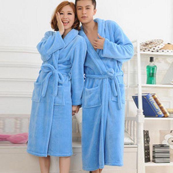 Wholesale-nice Autumn Winter Bathrobes For Women Men Ladys Long Sleeve Flannel Robe Female Male Sleepwear Lounges Homewear Pyjamas