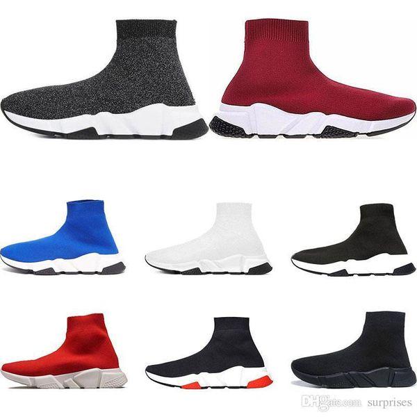 Diseñador New Shoes Speed Trainer Brand bule negro blanco rojo Flat Fashion para hombre para mujer Calcetines Zapatillas de deporte Zapatillas de deporte de moda Zapatos casuales tamaño 36-45